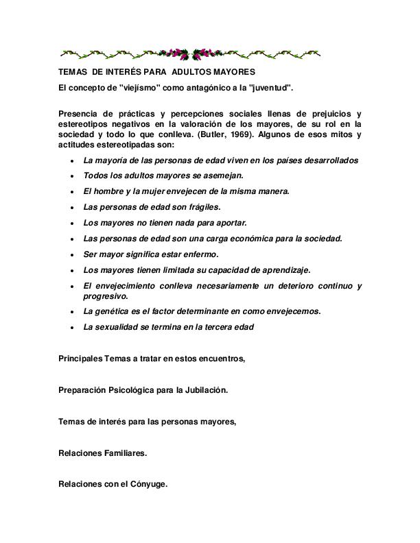 Doc Temas De Interés Para Adultos Mayores Gloria Gonzalez Academia Edu
