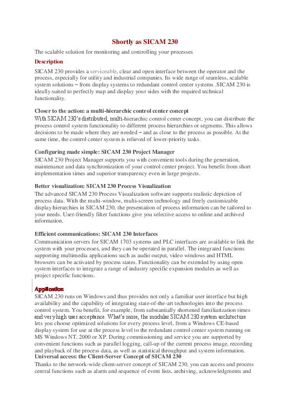PDF) Siemens Zenon SICAM 230 HMI | Ömer Diren - Academia edu