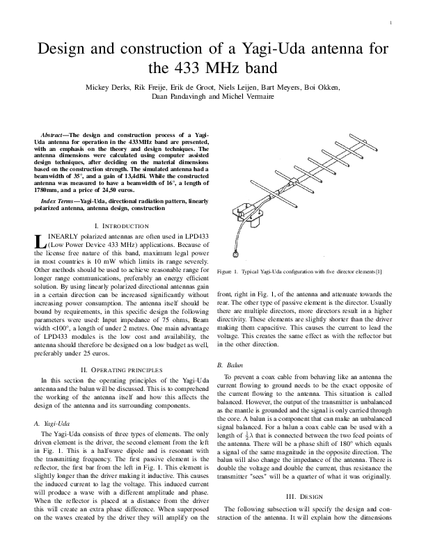 PDF) Design and construction of a Yagi-Uda antenna for the