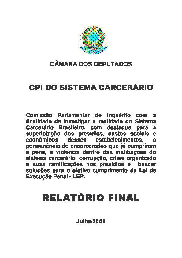 41d10ab4e52 Relatório Final da CPI do Sistema Carcerário