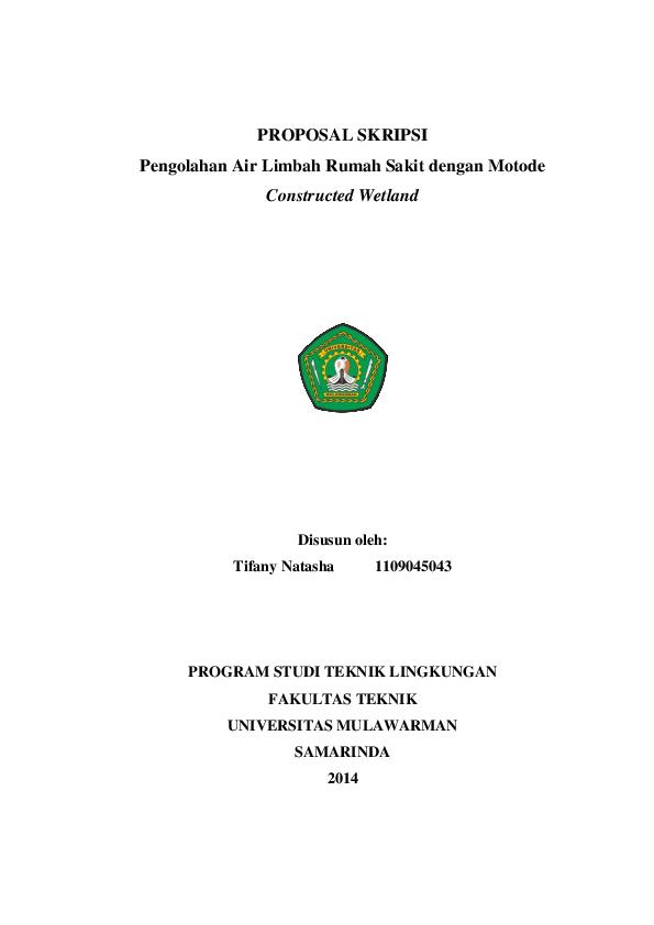 Doc Proposal Skripsi Pengolahan Air Limbah Rumah Sakit Dengan Motode Constructed Wetland Tifany Natasha Academia Edu