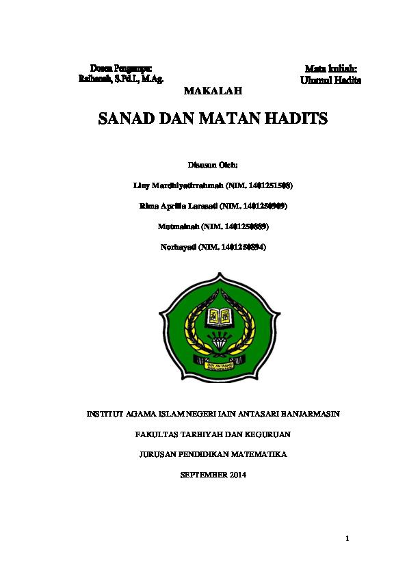 Sanad Matan Dan Perawi Hadits Liny Mardhiyatirrahmah Academia Edu
