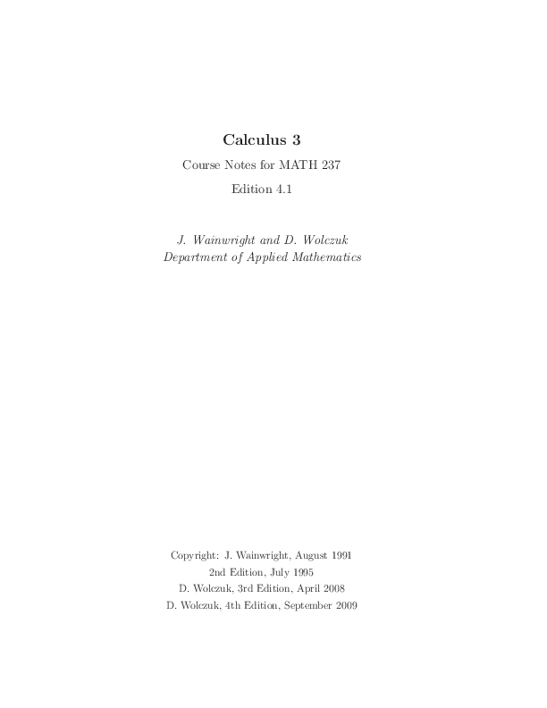 PDF) Calculus 3 Course Notes for MATH 237 Edition 4 1