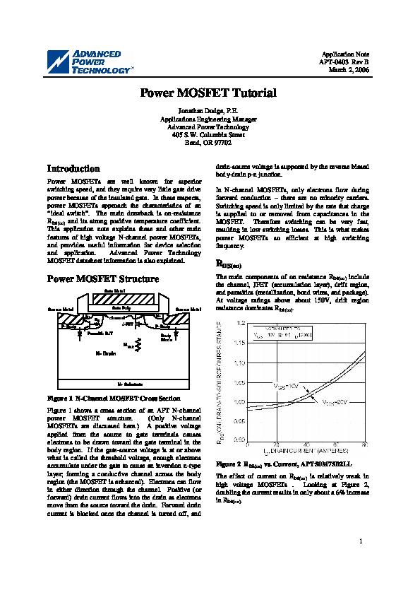 PDF) Application Note APT-0403 Rev B Power MOSFET Tutorial