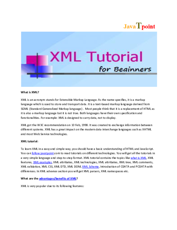 DOC) What is Xml? | Xml Tutorial For Beginners- JavaTpoint