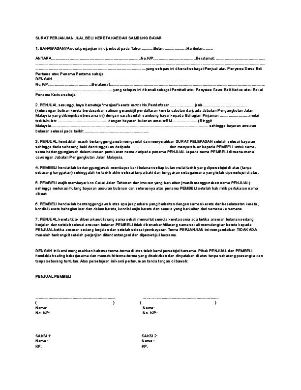 Doc Surat Perjanjian Jual Beli Kereta Kaedah Sambung Bayar Arm Voltex Academia Edu