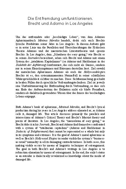 Pdf Refunctioning Alienation Brecht And Adorno In Los