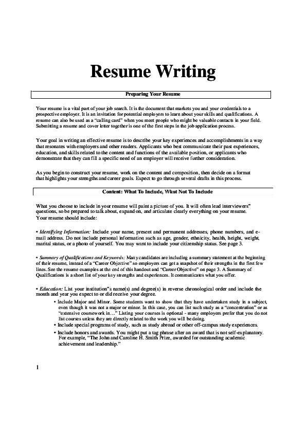 Pdf How To Write A Resume Suddiyas Nawaz Academia Edu