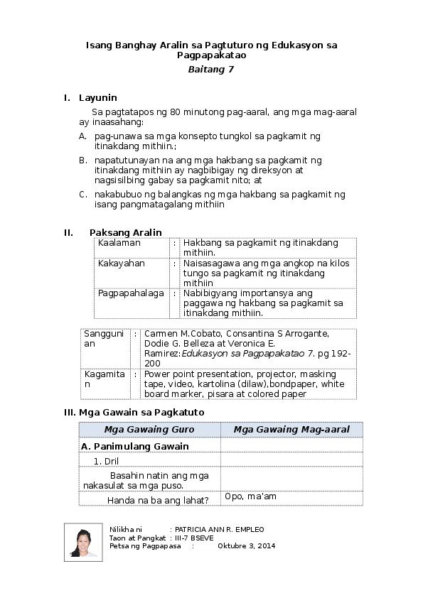 DOC) Isang Banghay Aralin sa Pagtuturo ng Edukasyon sa