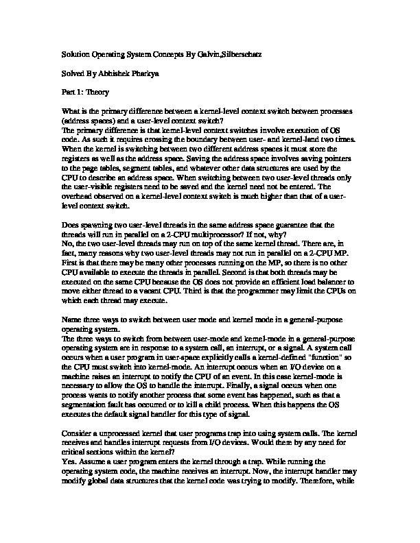 Pdf Solution Operating System Concepts By Galvin Silberschatz Solved By Abhishek Pharkya Xuan Vien Tran Academia Edu