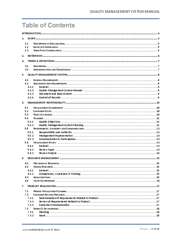 PDF) QUALITY MANAGEMENT SYSTEM MANUAL Table of Contents