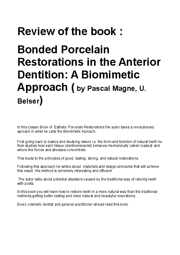 The restorations bonded pdf anterior in porcelain dentition