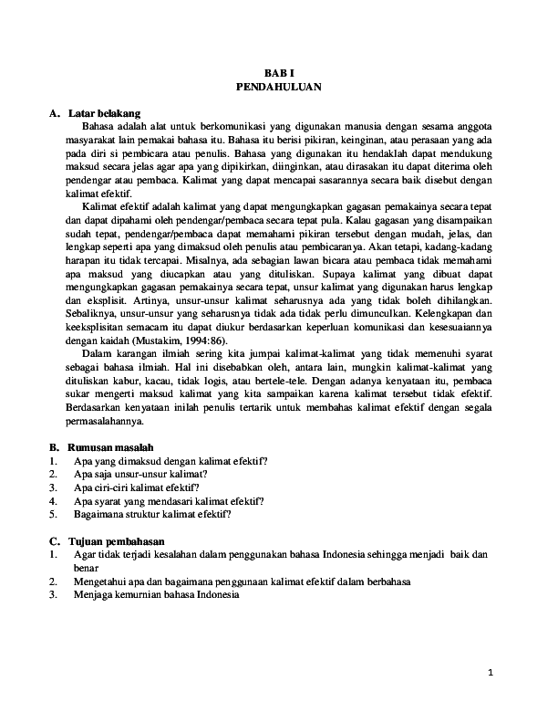 Kalimat Efektif Dalam Bahasa Indonesia Masyita Mustika Ii