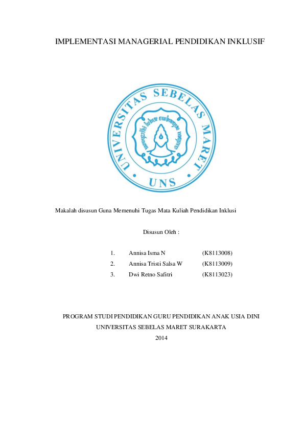 Doc Implementasi Managerial Pendidikan Inklusif Dwi Retno Safitri Academia Edu