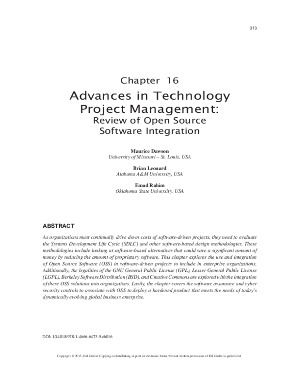 Pdf Advances In Technology Project Management Review Of Open Source Software Integration Maurice Dawson And Brian Leonard Academia Edu
