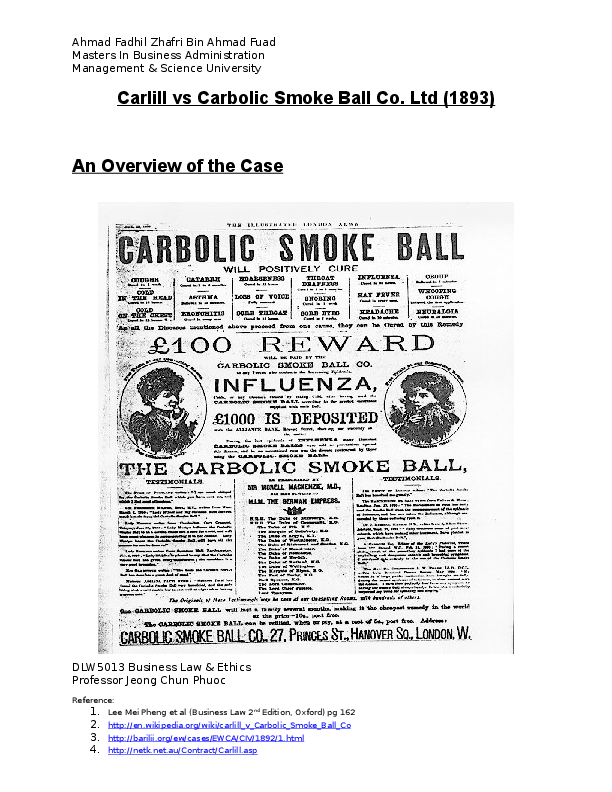 An Analysis Of Contract Law Carlill V Carbolic Smoke Ball Co Ltd