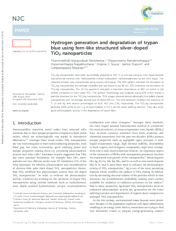 PDF) Hydrogen generation and degradation of trypan blue using fern