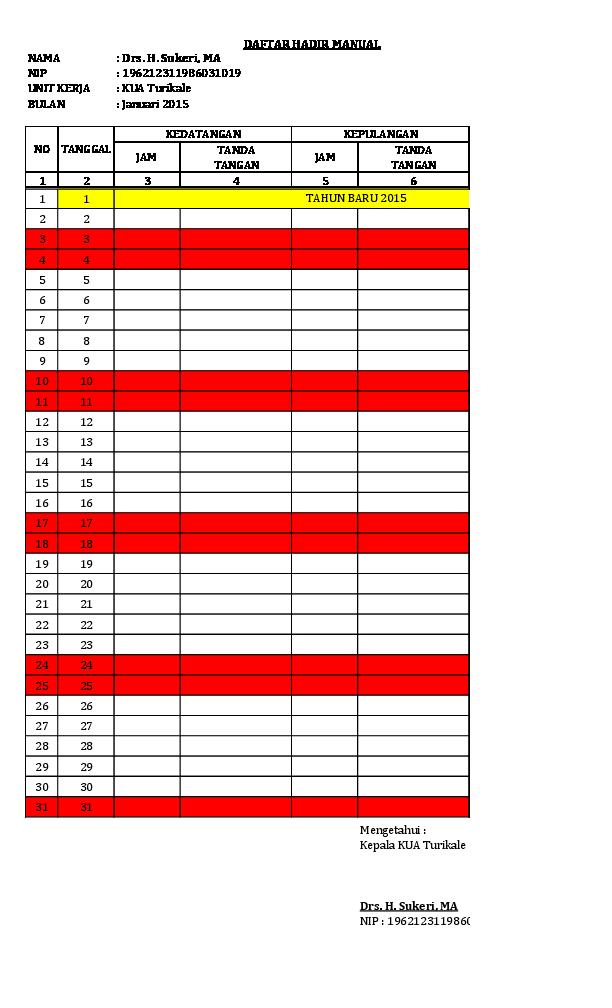 Xls Daftar Hadir Manual Rika Asri Academia Edu