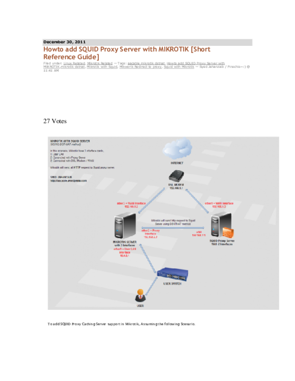PDF) Howto add SQUID Proxy Server with MIKROTIK [Short