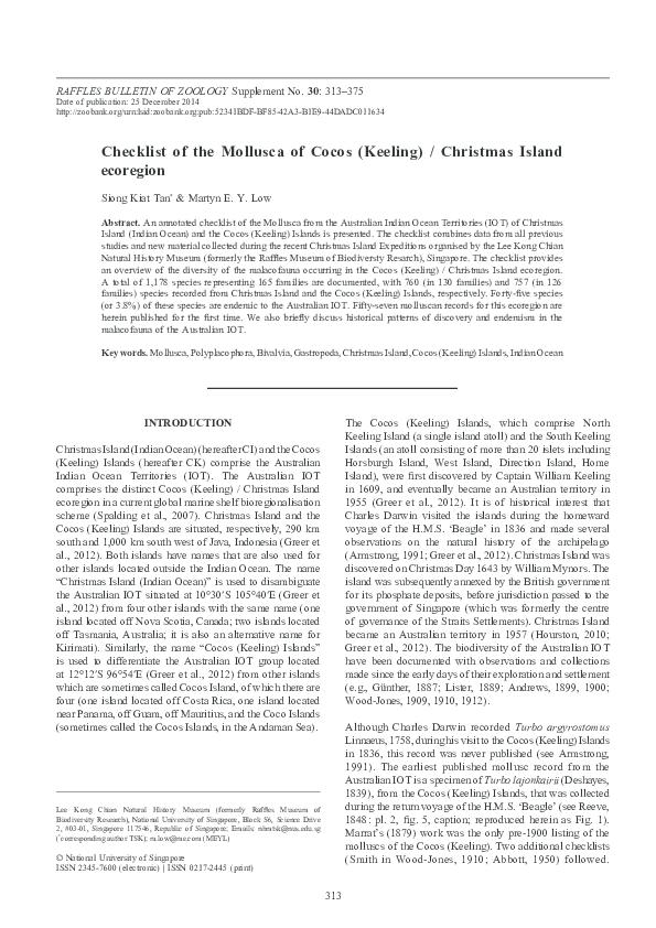 PDF) Checklist of the Mollusca of Cocos (Keeling) / Christmas Island