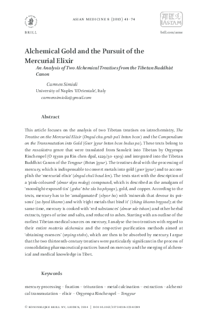 PDF) Alchemical Gold and the Pursuit of the Mercurial Elixir