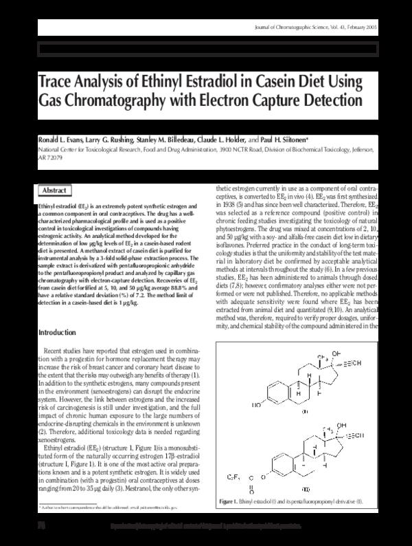 PDF) Trace Analysis of Ethinyl Estradiol in Casein Diet