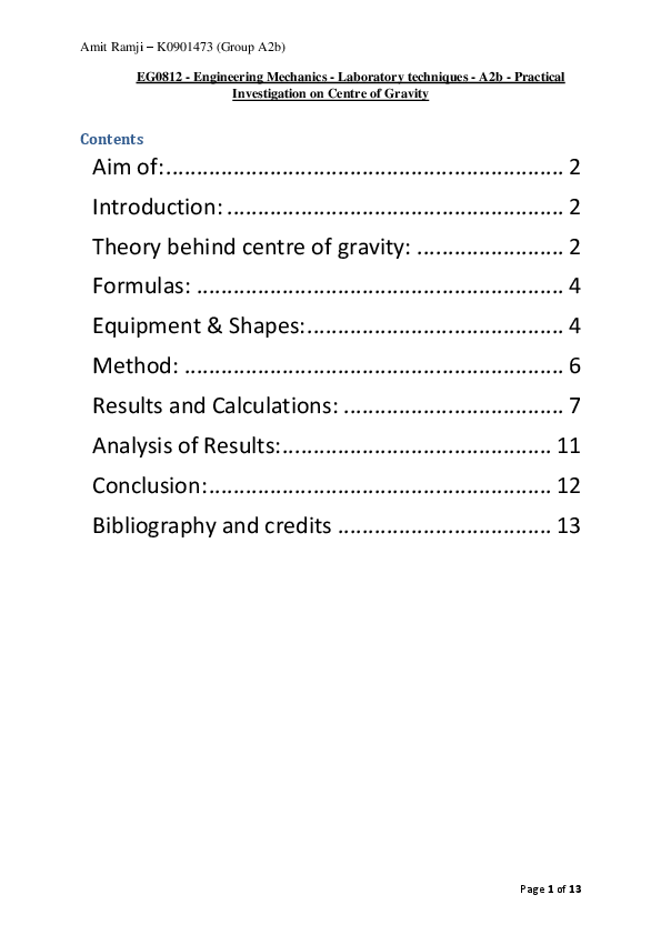 Engineering Mechanics -Laboratory techniques -A2b -Practical Investigation on Centre of Gravity