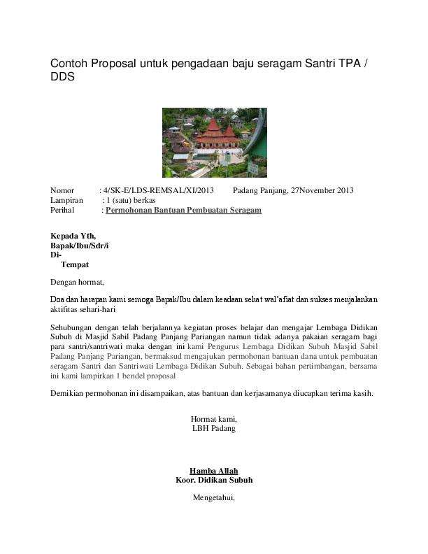 Contoh Proposal Untuk Pengadaan Baju Seragam Santri Tpa Dds