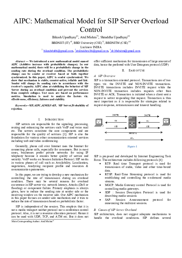 PDF) AIPC: Mathematical Model for SIP Server Overload