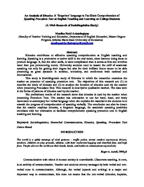 PDF) An Analysis of Kinesics: A 'forgotten' language to