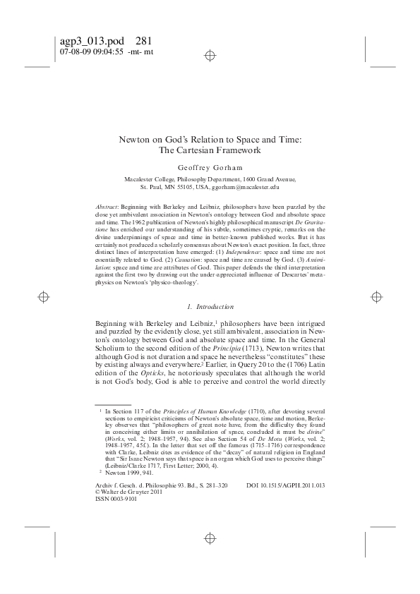PDF) Newton on God's Relation to Space and Time | Geoffrey