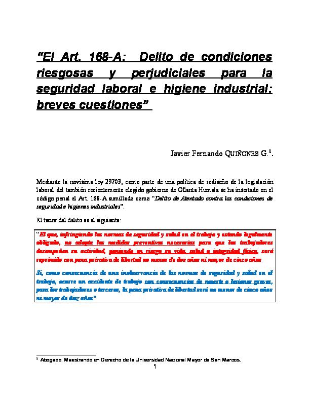 pdf) \u201cel art 168 a delito de condiciones riesgosas y perjudicialespdf \u201c