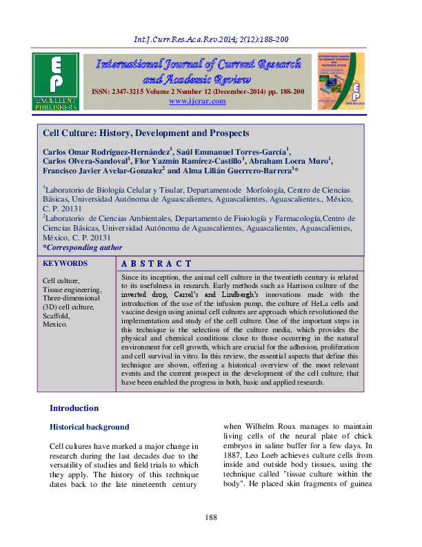 PDF) Cell Culture: History, Development and Prospects | Saul