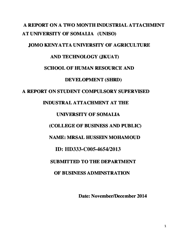 DOC) A REPORT ON A TWO MONTH INDUSTRIAL ATTACHMENT AT UNIVERSITY OF