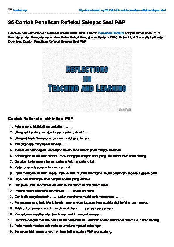 Pdf 25 Contoh Penulisan Refleksi Selepas Sesi P P Hootoh Tudia Academia Edu