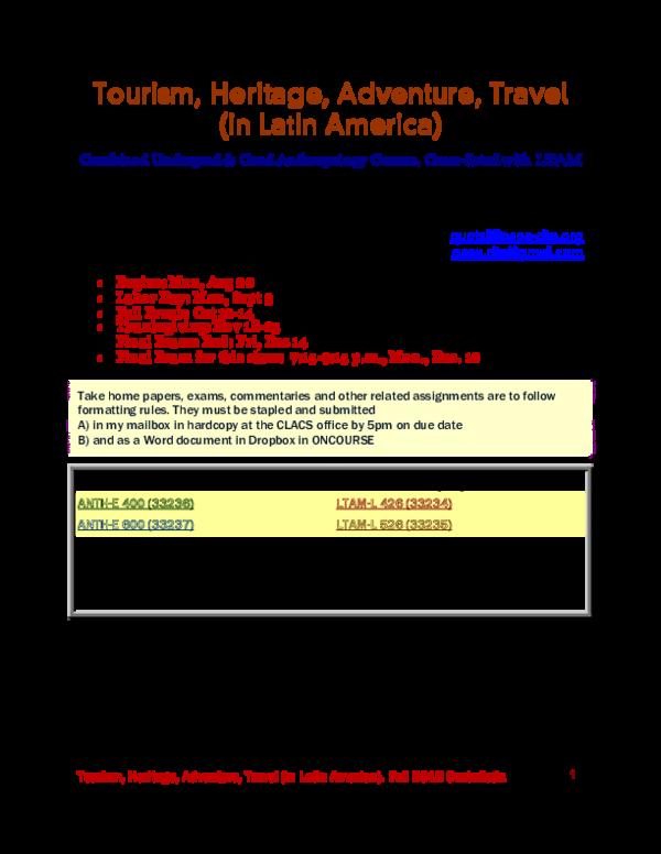 PDF) Syllabus Tourism 2012 | Quetzil Castañeda - Academia edu