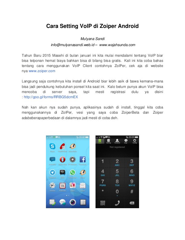 PDF) Cara Setting VoIP di Zoiper Android   Mulyana Sandi