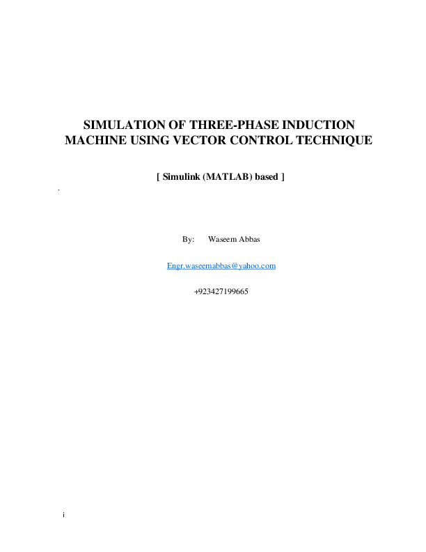 PDF) SIMULATION OF THREE-PHASE INDUCTION MACHINE USING