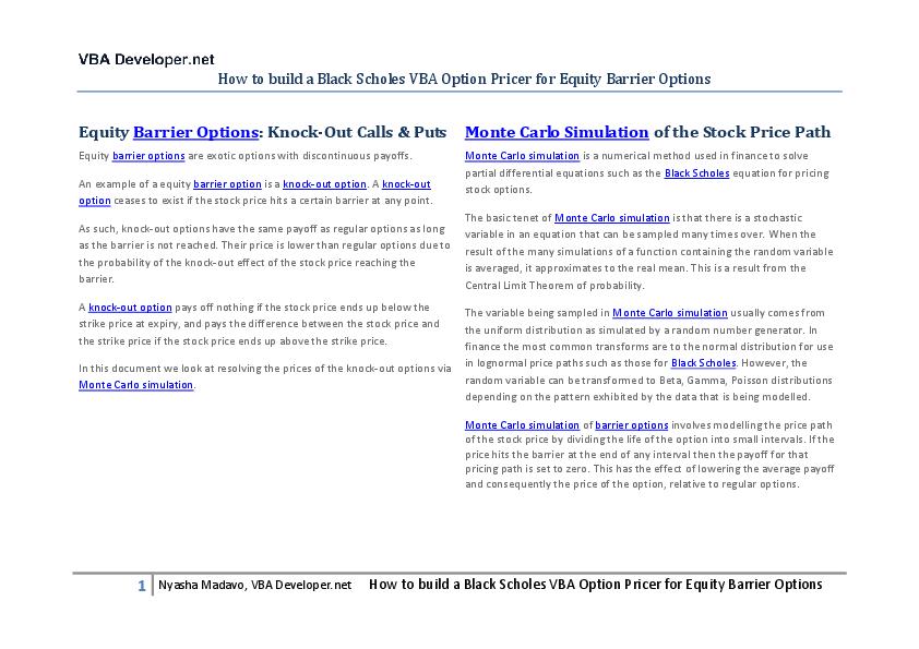 PDF) Blackscholesvbabarrieroptionpricermontecarlosimulation | nn nn ...