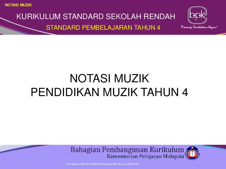 Ppt Notasi Muzik Kursus Ju Muzik Tahun 4 Arlida Abdul Academia Edu
