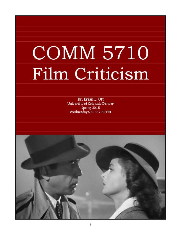 Pdf Comm 5710 Syllabus Film Criticism Brian L Ott Academia Edu