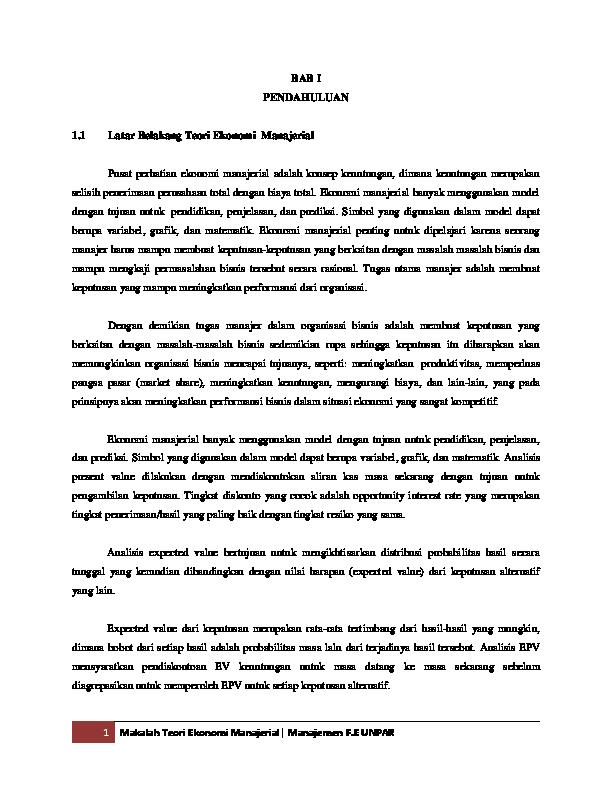 Makalah Ekonomi Manajerial Silvia Sosila Academia Edu