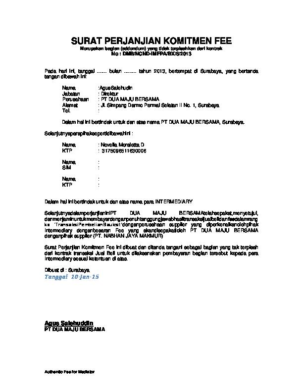 Doc Surat Perjanjian Komitmen Fee Ajip Moonraker Academiaedu