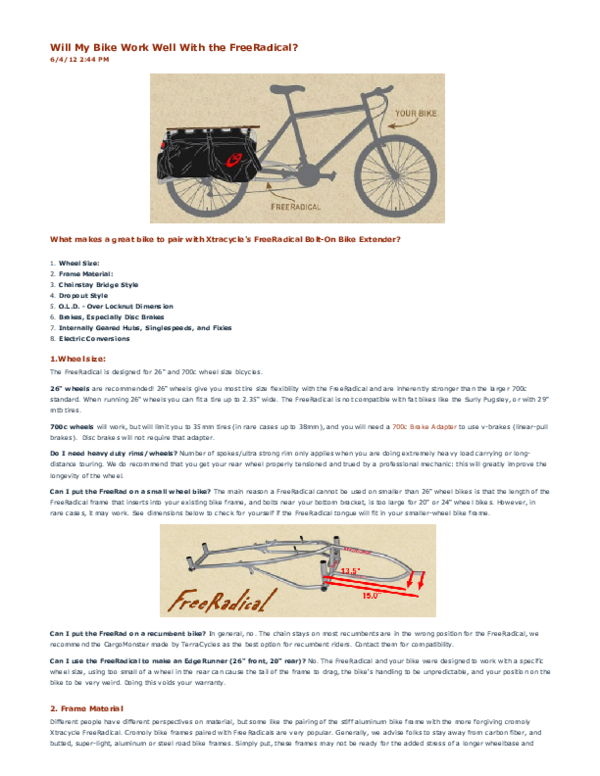 PDF) Xtracycle Will My Bike Work Well With the FreeRadical