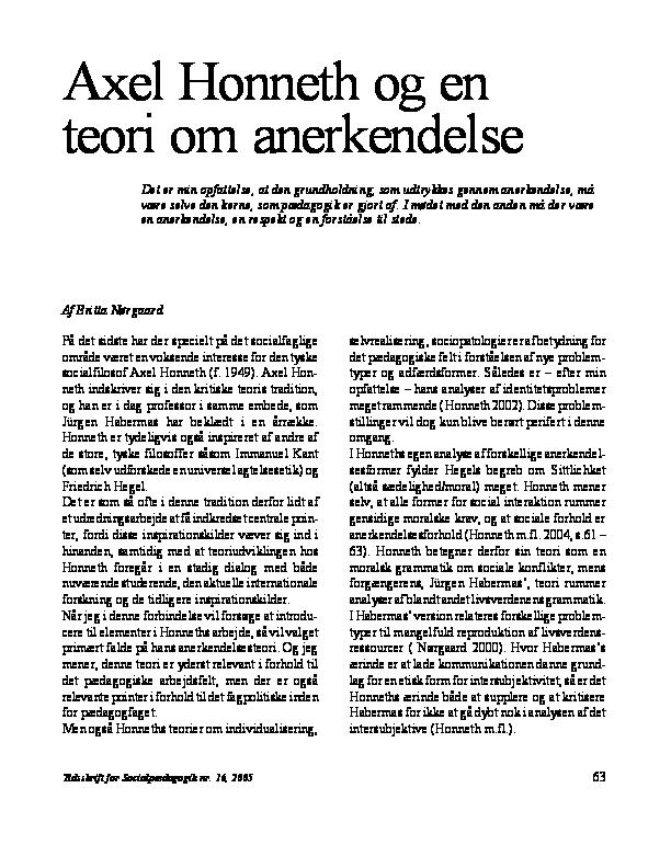axel honneth og en teori om anerkendelse