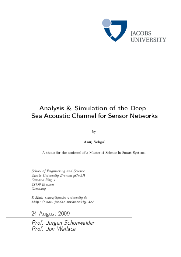 PDF) Analysis and Simulation of the Deep Sea Acoustic