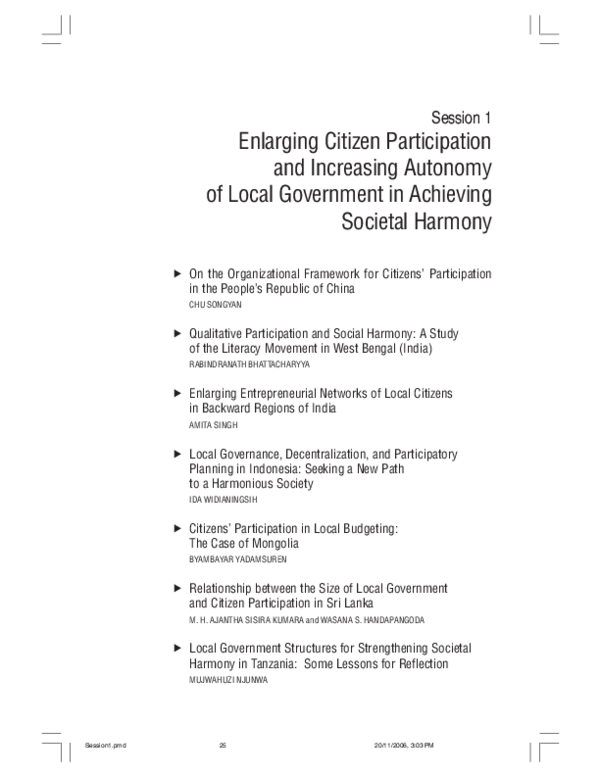 Pdf Enlarging Citizen Participation And Increasing Autonomy Of