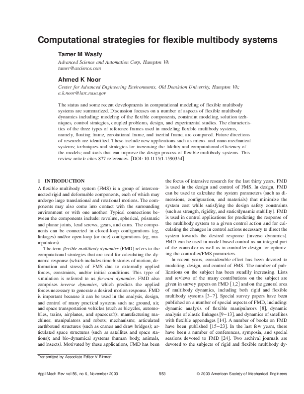 PDF) Computational strategies for flexible multibody systems