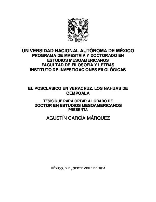 Agustín García Márquez  El posclásico en Veracruz. Los nahuas de ... 07606a1da9d05