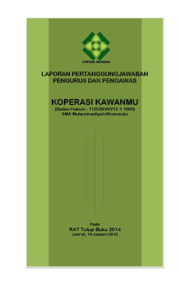 Pdf Laporan Rat Koperasi Simpan Pinjam 2014 Supriyanto Praptoutomo Academia Edu